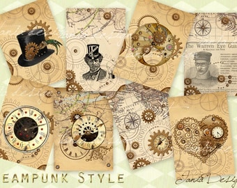 Steampunk Style - Digital Collage Sheet - Set of 8 Atc Cards - Digital Scrapbooking - Instant Download