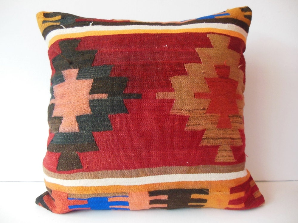 Extra Big Throw Pillows : 24x24 Extra large throw pillow kilim pillow by DECOLICKILIMPILLOWS