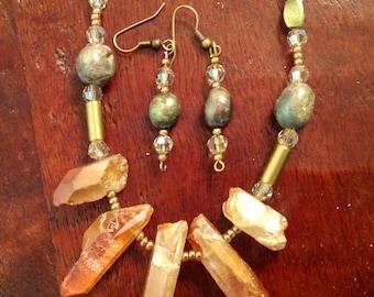 Raku and Rose Gold Quartz Necklace and Earring set