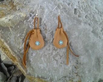earrings deerskin leather medicine bag
