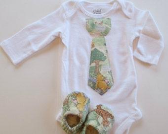 Vintage Style Long Sleeve Winnie the Pooh Tie Applique Onesie Matching Baby Booties Robin Eeyore Tigger Piglet