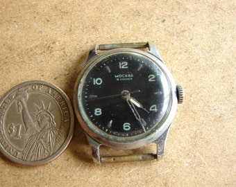 RARE Soviet Union mechanical wrist watch Moscow MOSKVA 16 jewels Ussr era 1950s