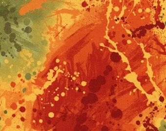 Paint splatter design with rich oranges, yellows, golds, and greens.