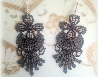 Black lace earrings,Lace earrings,Lace,Black Lace,Flower earrings