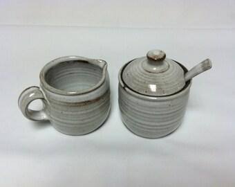 handmade sugar and creamer set, white, shabby chic, cottage, rustic