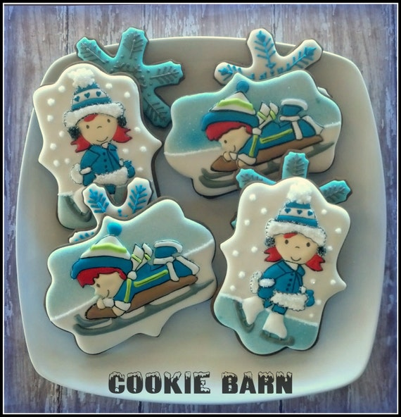 Ice Skating Snow Sledding Boy Girl Decorated Cookies