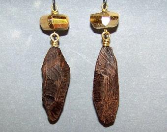 Earrings, Ebony, Gold Pyrite 246