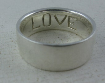 15% OFF. LOVE. Casually elegant, simple, relatively broad band ring in sterling silver (925 Ag). VINTAGE