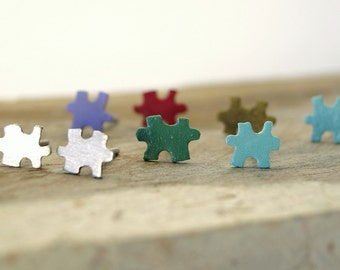 Multicolor puzzle stud earrings , Sterling silver puzzle stud earrings , Tiny puzzle stud earrings , gifts under 25
