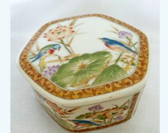 Vintage Japanese Jewelery Box Porcelain with Birds