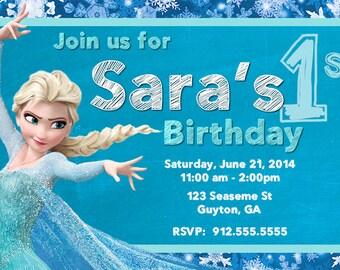 Frozen Elsa Birthday Invite, DIY digital file