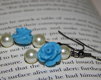 Delicate and Dainty Blue Flower and Pearl Earrings