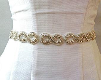 Bridal Sash RHINESTONE SASH,  jeweled sash
