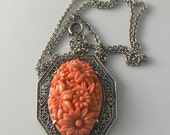 Vintage Art Deco Filigree Sterling Poured Coral Glass Necklace  Unique vintage, antique, costume and estate jewelry.