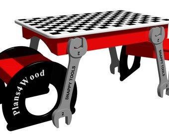 Wrench Table with Stools Woodworking Plan