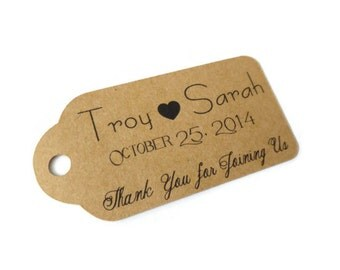 Thank You Tags,Custom Wedding Favor Tags-Set of 20-Personalized Tags, Favor Tags, Gift Tags