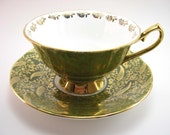 Elizabethan Staffordshire Tea Cup And Saucer, Moss Green and gold chintz tea cup set,  Fine Bone china, English Tea cup set