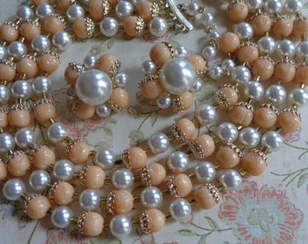 Signed JAPAN Vintage Four Strand Peach and Faux Pearl Necklace and Earrings