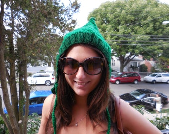 Pixie knit hat, elf hat, Christmas gift