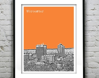 Worcester Massachusetts City Skyline Poster Art Print Downtown Worcester MA