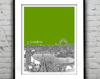 London Poster Art Print Big Ben London Eye Britain England Version 2