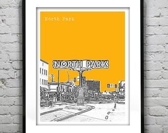 North Park San Diego California Skyline Art Print Poster CA Version 6