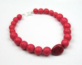 Red Tagua Necklace, Eco - Friendly Wood and Vegetable Ivory Tagua Nut Necklace, Women's Handmade Statement Jewelry by elle and belle