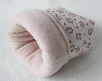 "cuddle bag / cosy sleeping bag / cuddle sack ""tiny hedgehogs"" with light apricot fleece for guinea pigs"