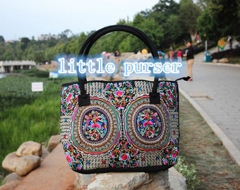 TOTE Handbag,Vintage Embroidered Cloth Hmong Bag ,purse, Diaper Bag or Camera Bag,Canvas shoulder bag, messenger bag, laptop bag, hobo, dia