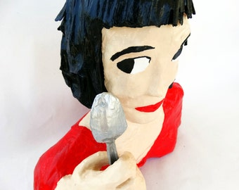 papier mache,Amelie,personalized art,free shipping,human figure,character,sculpture,paper mache art doll,home decor,bust,red,black,custom.