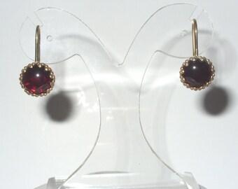 Red Garnet dangle chandelier earrings  - statement earrings - vermeil - vintage - bridal - bridesmaid
