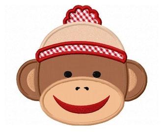 Sock Monkey Applique Machine Embroidery Design NO:0159