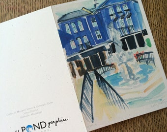 Watercolor Notecard Blue Building - Cotton District, Starkville Mississippi