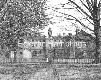 Wren Building, College of William and Mary, Williamsburg Virginia Pen and Ink Print