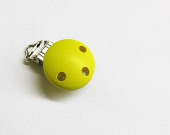 Wood pacifier clip, yellow, 1 pc. for dummy holders, pacifier holders.