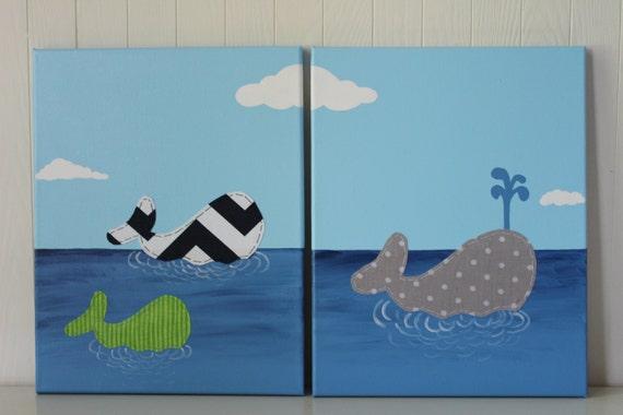 White Whale Wall Decor : Items similar to whale nursery decor wall art