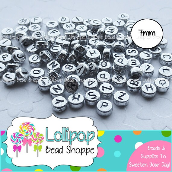 Silver Alphabet Beads: 7mm SILVER ALPHABET Beads Letter Beads 200ct By