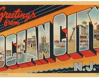 Ocean City, NJ Giant Letters Postcard, 1947