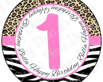 PERSONALIZED STICKERS - Custom Zebra Cheetah Monogrammed Labels - Round Gloss Labels