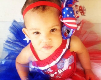 girls fourth of july tutu baby tutu red white blue stars