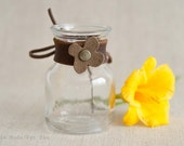 Small Milk Jar Vase with Leather and Suede Flower Collar