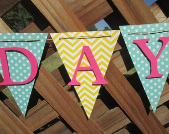 Mint, yellow and pink Chevron and polka dot Happy Birthday banner, Birthday banner, 1st birthday banner, Birthday decorations