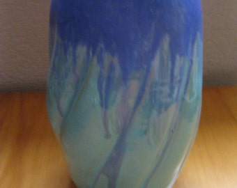 Large Langley pottery stoneware vintage studio pottery vase with beautiful drip glaze