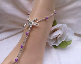 Lavender Starfish Barefoot Sandals, Bridal Foot Jewelry, Starfish Barefoot Sandle,Beach Wedding Sandals