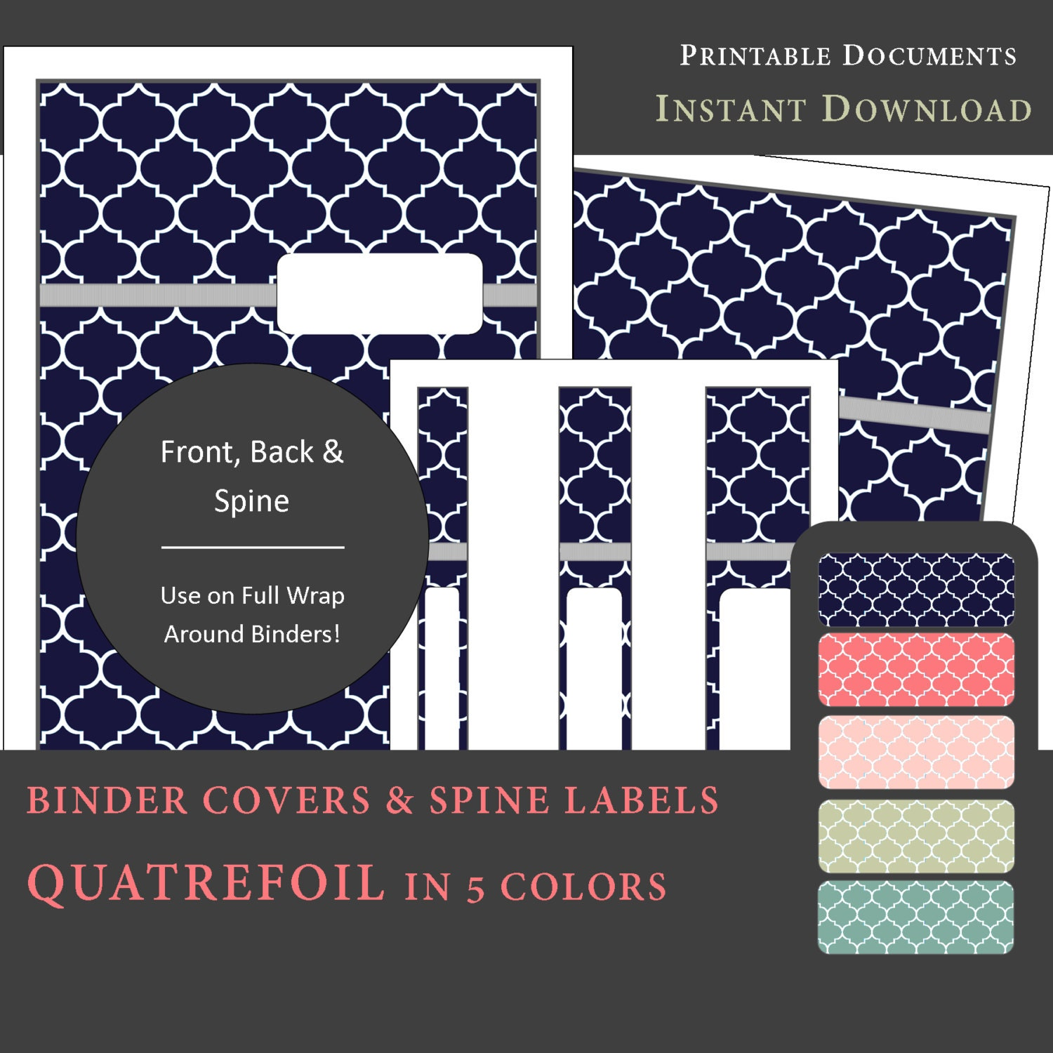 Printable Binder Covers & Spine Label Inserts QUATREFOIL