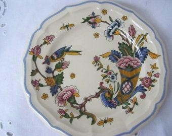 Vintage French Plates from Gien France, Gien Corne D'Abondance Salad Plates