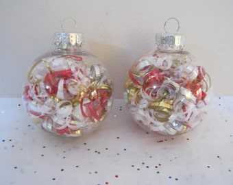 Christmas Ribbon Ball Ornaments Set Of Two  Red Gold White Holiday Decor Tree Ornament Gift Idea