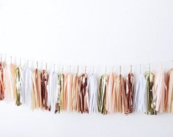 Select Your Own Colors>>FREE US SHIPPING>> Fully Assembled>> Champagne on the Beach Tassel Garland >>