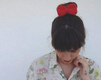 Crochet Hair Bow: Red