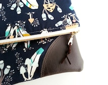 Fold Over Clutch, Navy Clutch Purse, Zipper Purse, Whimsical Feathers